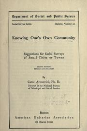 Cover of: Knowing one's own community