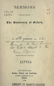 Cover of: Sermons preached before the University of Oxford