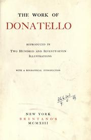 Cover of: The work of Donatello