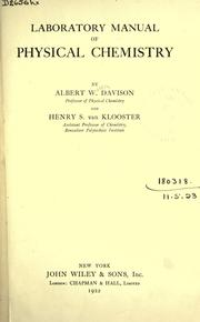 Laboratory manual of physical chemistry by Albert Watson Davison