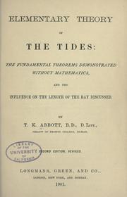 Cover of: Elementary theory of the tides