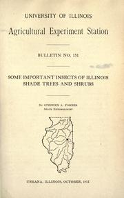 Cover of: Some important insects of Illinois shade trees and shrubs
