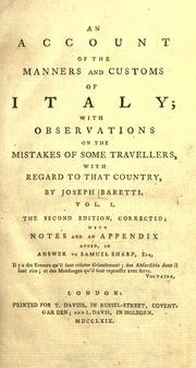 Cover of: An account of the manners and customs of Italy: with observations on the mistakes of some travellers, with regard to that country.