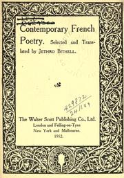 Cover of: Contemporary French poetry, selected and translated by Jethro Bithell