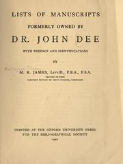 Cover of: Lists of manuscripts formerly owned by Dr. John Dee