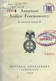 Cover of: American Indian freemasonry | Arthur Caswell Parker