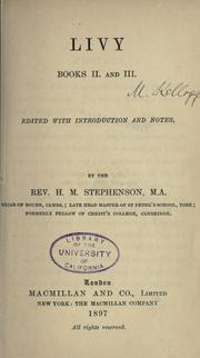Cover of: Livy, books II and III