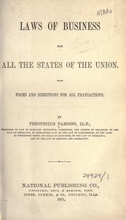 Cover of: Laws of business for all the states of the Union: with forms and directions for all transactions