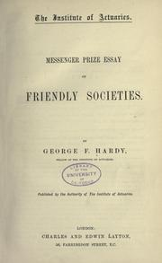 Cover of: Messenger prize essay on friendly societies