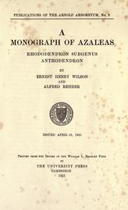 Cover of: A monograph of azaleas