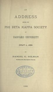 Cover of: An address before the Phi beta kappa society of Harvard university, July 1, 1886