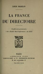 La France du Directoire by Louis Madelin