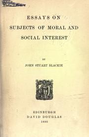 Cover of: Essays on subjects of moral and social interest