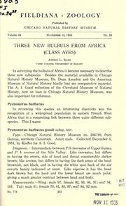 Cover of: Three new bulbuls from Africa (class Aves)