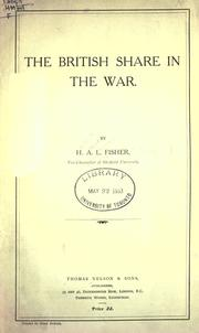 Cover of: The British share in the war
