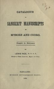 Cover of: Catalogue of Sanskrit manuscripts in Mysore and Coorg