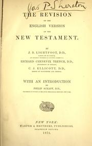 Cover of: The revision of the English version of the New Testament