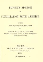 Cover of: Burke's speech on conciliation with America