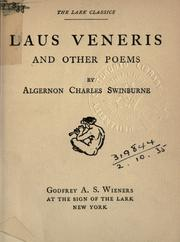 Cover of: Laus Veneris, and other poems
