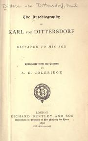 Cover of: The autobiography of Karl von Dittersdorf
