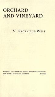 Cover of: Orchard and vineyard [by] V. Sackville-West