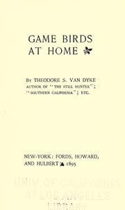 Cover of: Game birds at home