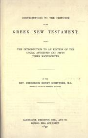 Cover of: Contributions to the criticism of the Greek New Testament