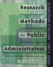 Cover of: Research methods for public administrators | Elizabethann O