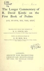 Cover of: The longer commentary of R. David Kimhi on the first Book of Psalms