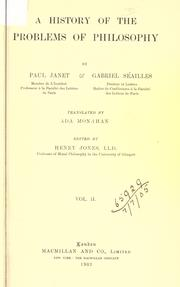 Cover of: A history of the problems of philosophy | Janet, Paul