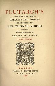 Cover of: Plutarch's Lives of the noble Grecians and Romans | Plutarch