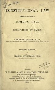 Cover of: Constitutional law viewed in relation to common law and exemplified by cases