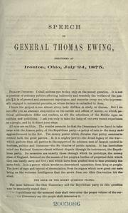 Cover of: Speech of General Thomas Ewing