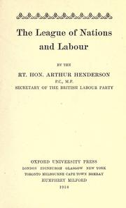Cover of: The league of nations and labour
