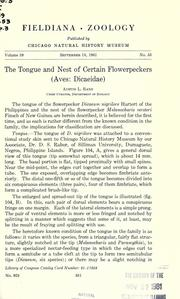 Cover of: The tongue and nest of certain flowerpeckers, Aves: Dicaeidae