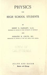 Cover of: Physics for high school students | Henry S. Carhart