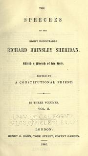 Cover of: The speeches of the Right Honourable Richard Brinsley Sheridan