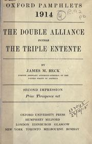 Cover of: The double alliance versus the triple entente