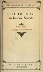 Cover of: Selected essays on literary subjects |