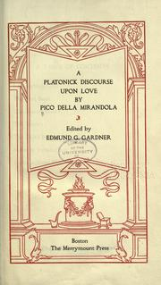 Cover of: A Platonick discourse upon love