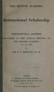 Cover of: International scholarship