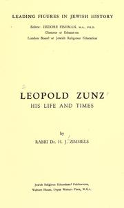 Cover of: Leopold Zunz