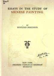 Cover of: Essays in the study of Sienese painting