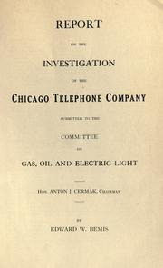 Cover of: Report on the investigation of the Chicago Telephone Company