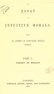 Cover of: An essay on intuitive morals