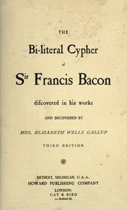 Cover of: The bi-lateral cypher of Sir Francis Bacon