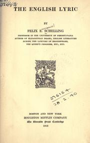 Cover of: The English lyric