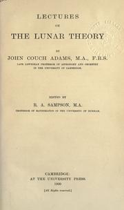 Cover of: Lectures on the lunar theory | John Couch Adams