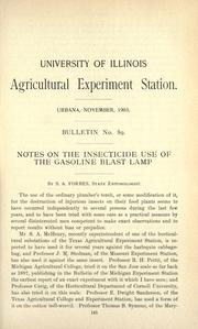 Cover of: Notes on the insecticide use of the gasoline blast lamp