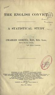 Cover of: The English convict by Charles Buckman Goring